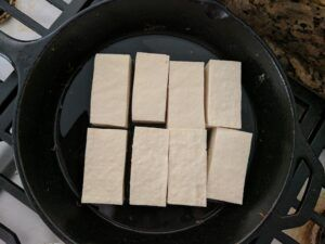 tofu in pan