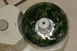 grinding pandan leaves