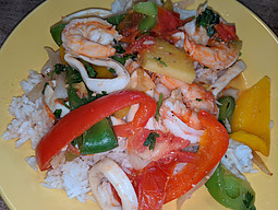 seafood served on rice